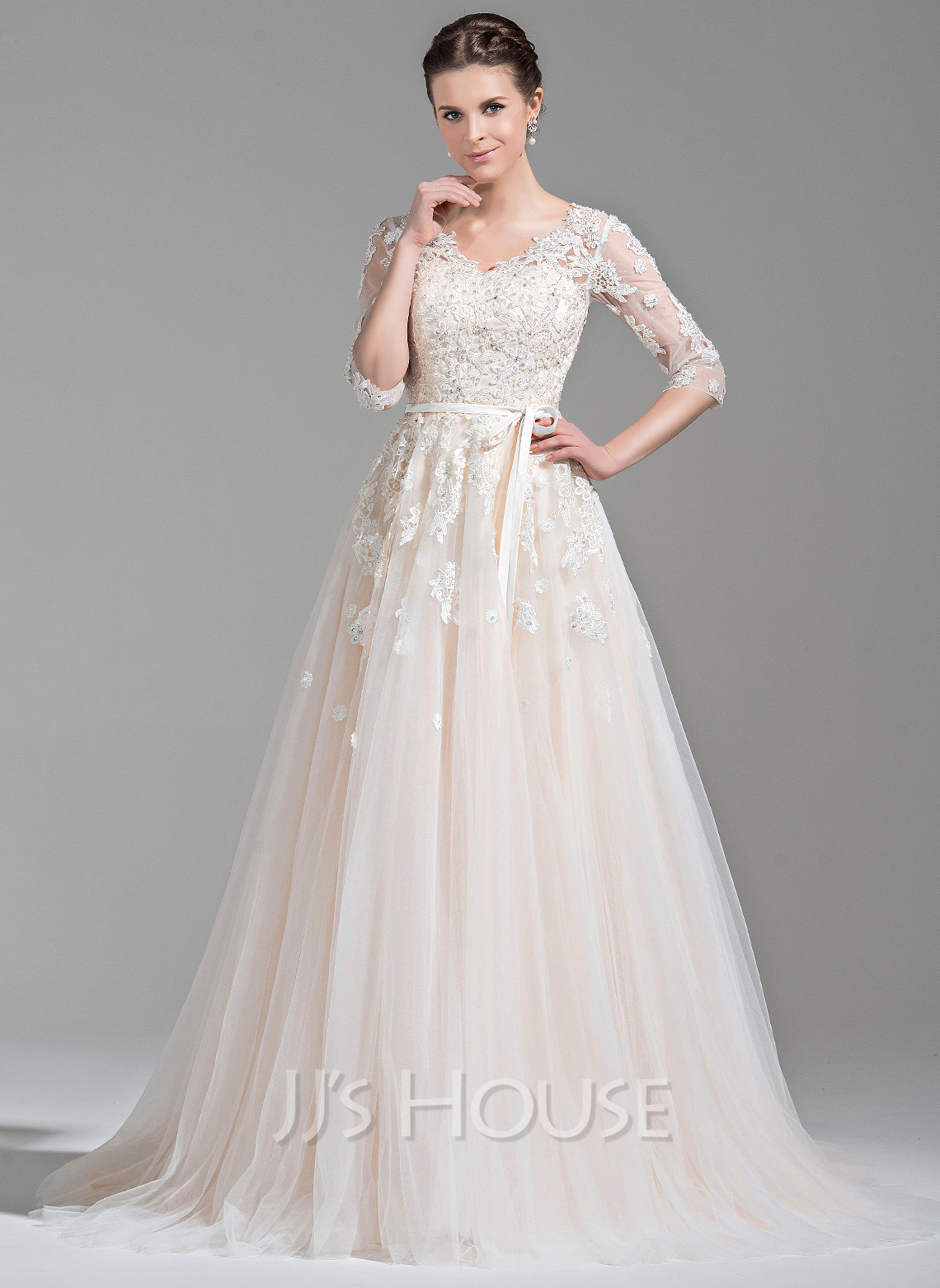 Cheap Wedding Dresses c2 dollar wedding dress Ball Gown V neck Court Train Tulle Wedding Dress With Beading Appliques Lace Sequins