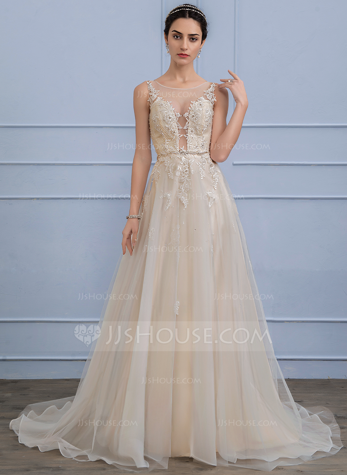 Wedding Dresses In Color p color wedding dresses A Line Princess Scoop Neck Sweep Train Tulle Lace Wedding Dress With Beading Sequins