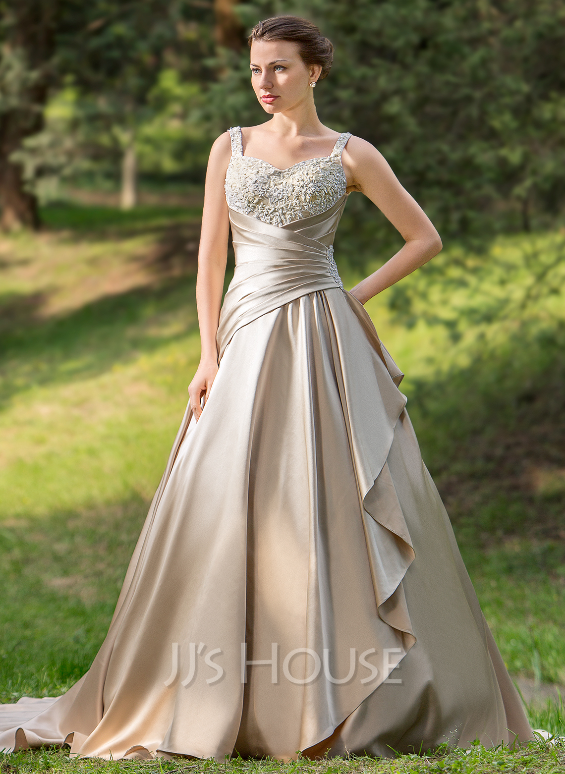 Ball Gown Sweetheart Court Train Satin Wedding Dress With Ruffle Beading Appliques Lace Cascading Ruffles g color wedding dresses Home Wedding Dresses Loading zoom
