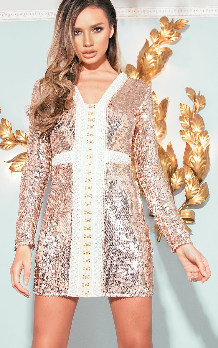 wedding guest dresses dresses for weddings Valencia Rose Gold Premium Embellished Sequin Bodycon Dress