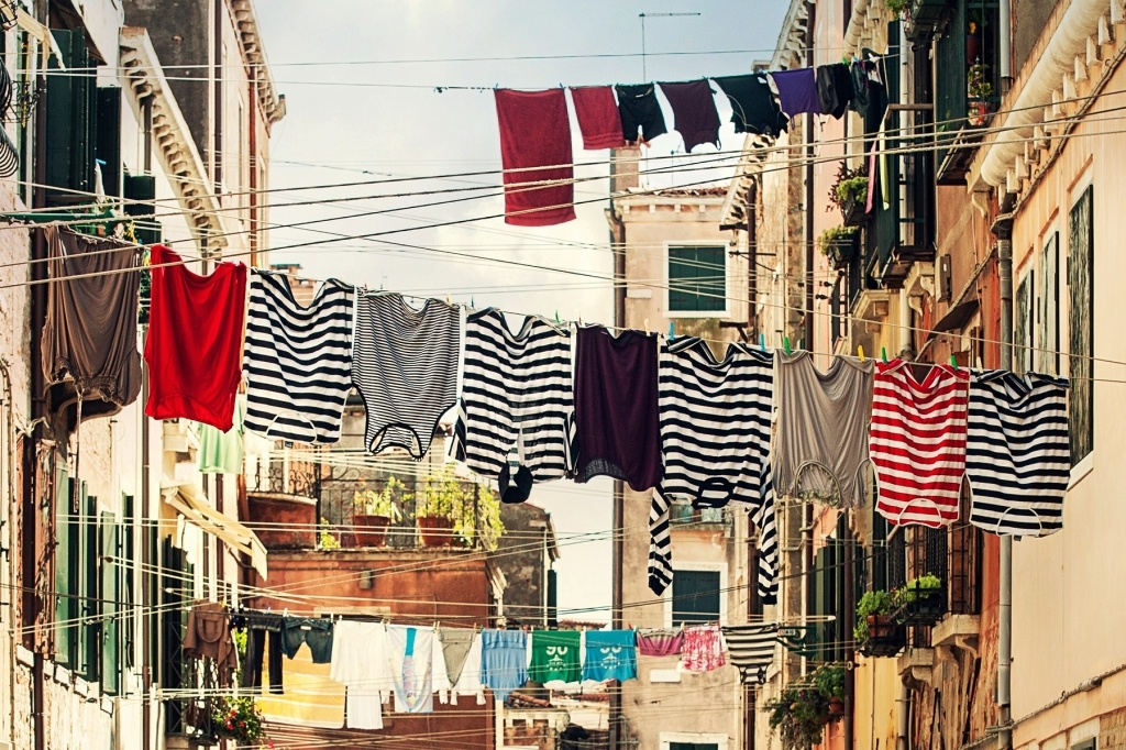 Clothesline with colorful clothes