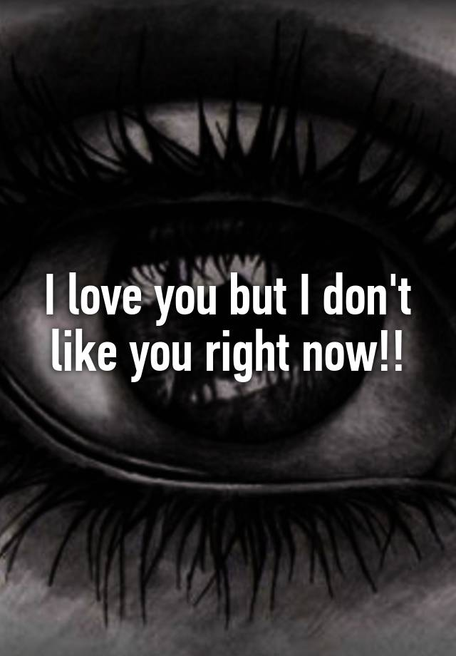 I Love You but I Dont Like You Right Now