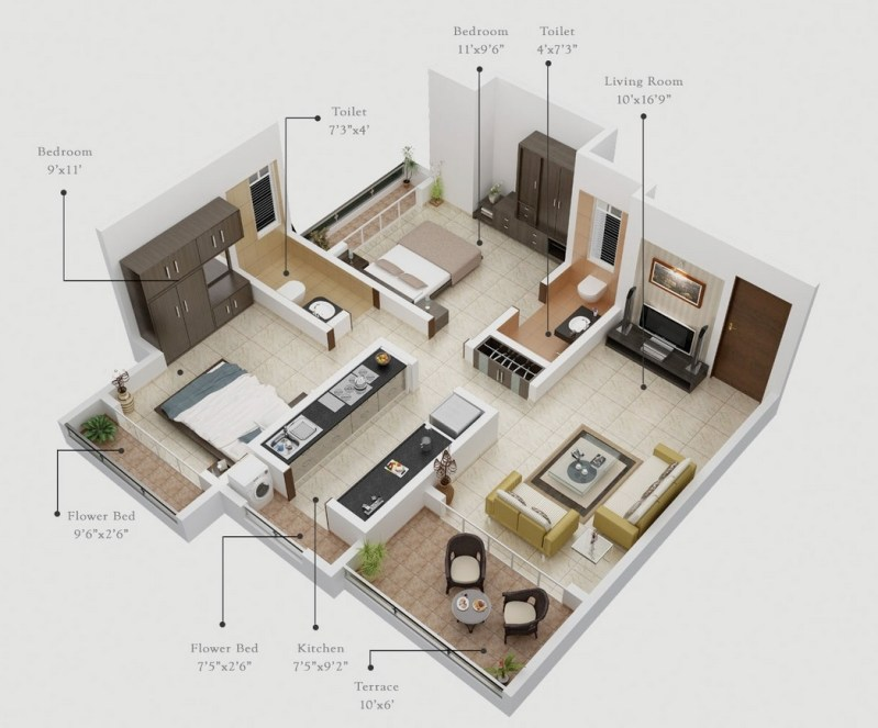Large Of One Bedroom Apartment Plan