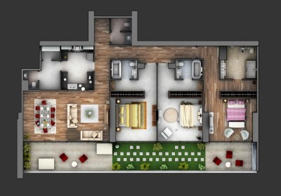 "50 Three ""3"" Bedroom Apartment/House Plans 