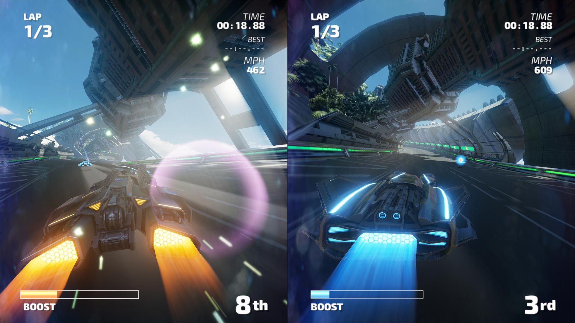 <em>Fast RMX</em> is a smooth, fun, fast racing game with pretty solid performance and only a few frame rate hiccups in portable mode. However, whether you like high-speed racing while splitting a 6.2-inch screen with someone else will be up to personal preference. (I was OKwith it.)