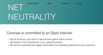 Comcast's net neutrality promise since April 27, 2017.