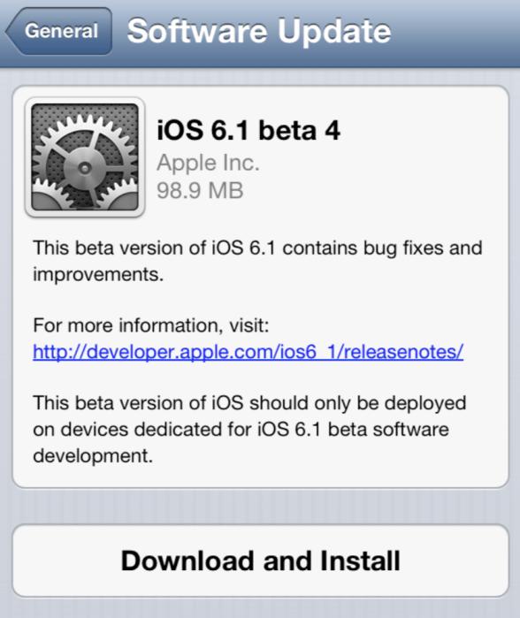 iOS 6 Beta 4