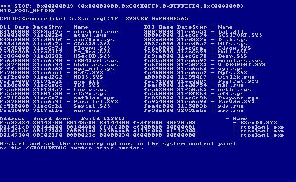 Windows Blue Screen of Death Windows 7 Blue Screen of Death