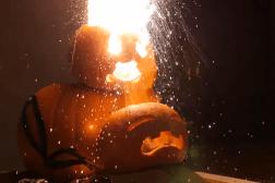 Halloween Pumpkins Thermite Fire Video
