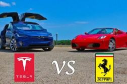 Tesla Model X Vs Ferrari