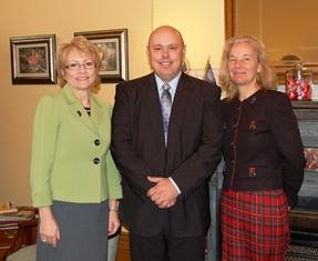 Lt. Governor Ellspermann, Jerome Hawkins, and ISDA Director Gina Sheets.