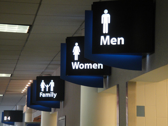 Restroom signs at Charlotte airport