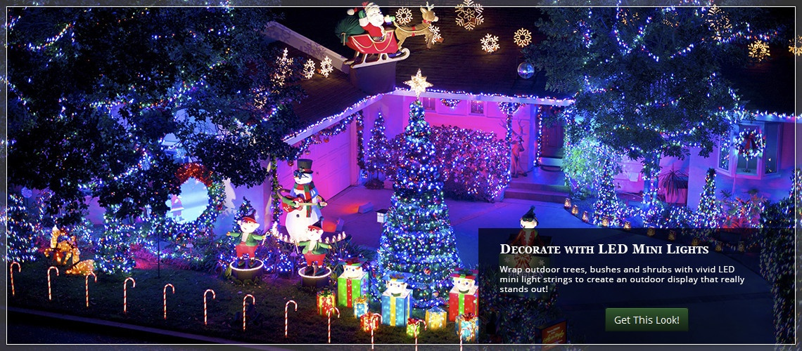 wrap trees bushes and shrubs with mini christmas lights exterior lighting ideas