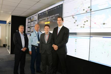 NZ Police and Auror partnership (from left): Mark Evans, Police Deputy Chief Executive of Strategy; Mike Clement, Police Deputy Commissioner of National Operations; Tom Batterbury, Auror Head of Product; and Phil Thomson, Auror CEO.