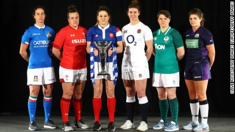 Hunter (center right) will face Italy, Wales, France, Ireland, and Scotland in the Six Nations.