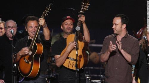 Springsteen, Rage Against the Machine's Tom Morello and Dave Matthews (from left) perform at a concert celebrating Pete Seeger's 90th birthday in 2009 in New York City.