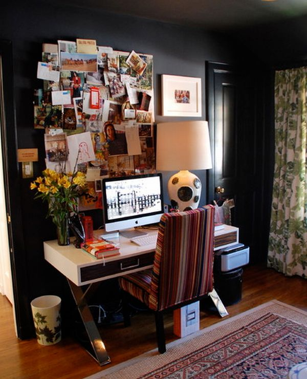 tiny eclectic home office with modern design displaying