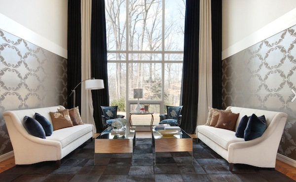 Wonderful Black And White Curtains View In Gallery Inspiration Decorating