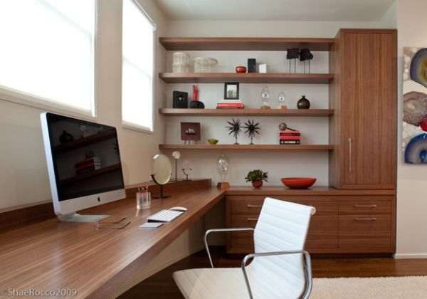 view in gallery modern home office with corner shelves that make a beautiful display design displaying