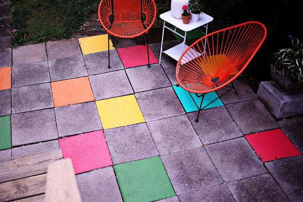 Colorful painted patio tiles Easy DIY Home Improvement Projects for a Creative Space