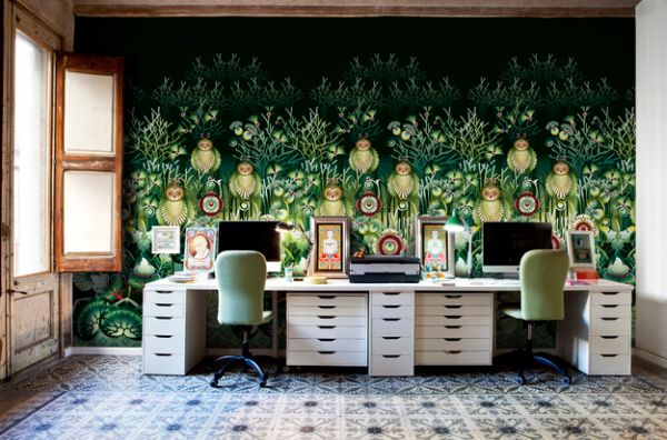 view in gallery elaborate and exqusite wallpaper creates a colorful home office functional furniture o