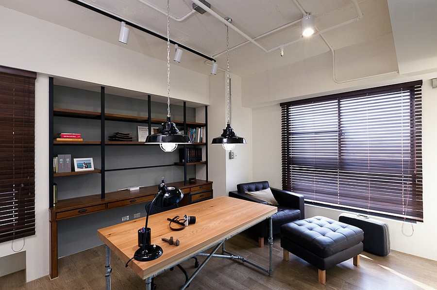 lighting adds an industrial touch to the home office design pmkdesigners modern displaying e