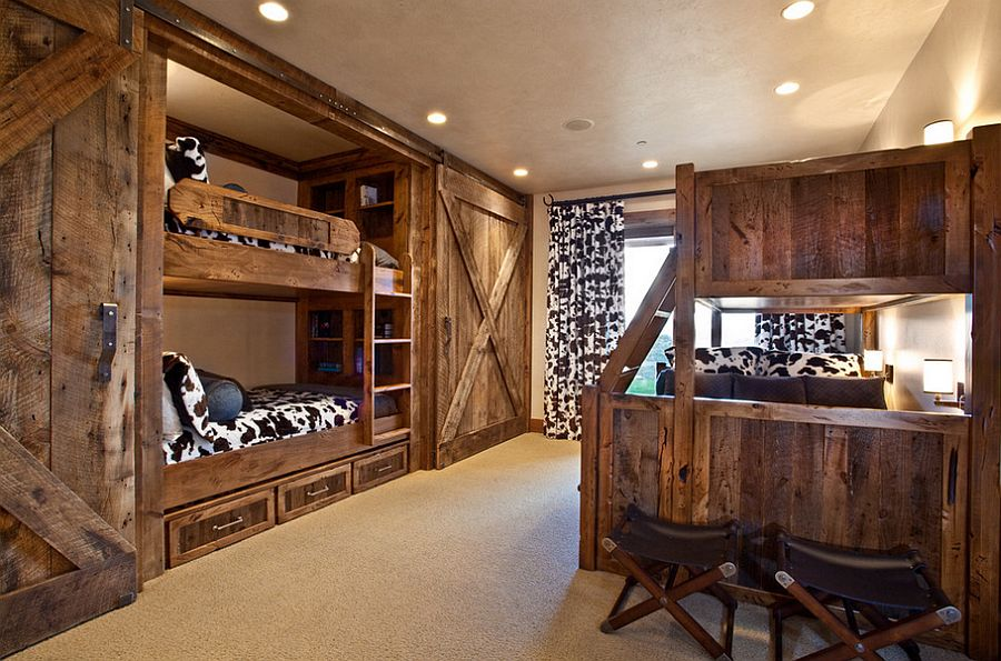 bunk beds and sliding barn doors in the rustic bedroom design mhr office designs c