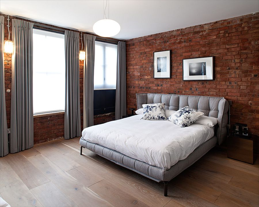 gray brings contemporary elegance to the bedroom with exposed brick walls design peter landers furniture