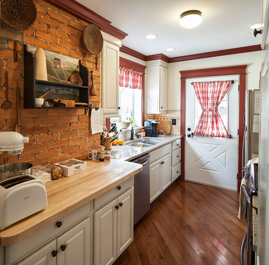 farmhouse kitchen with antique shelf and brick wall backdrop design handy home guys furniture the