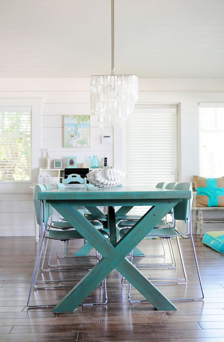 picnic style dining table beachy kitchen table View in gallery Trestle table with picnic table style Embrace The Relaxed Style Of Indoor