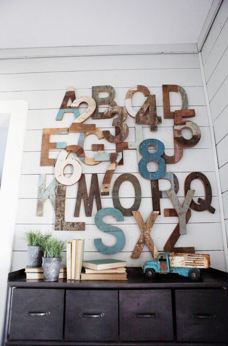 Decorating with Wooden Letters View in gallery Wooden letters create a modern rustic touch