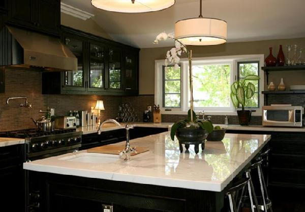 Plain Black Kitchen Cabinets With White Marble Countertops I Love The Wall Color Pendant Lights And For Design Inspiration