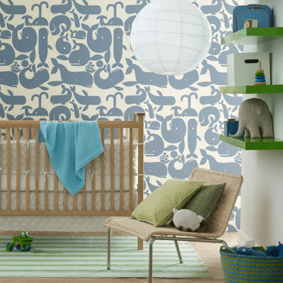 Little Whales Wallpaper - Contemporary - nursery