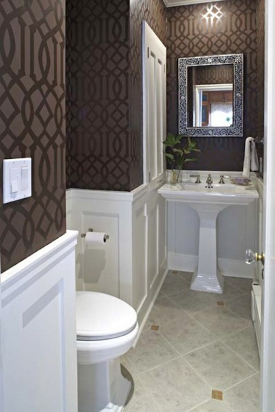 Wainscoting With Wallpaper Design Ideas