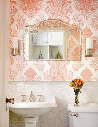 Pink Damask Wallpaper - Traditional - bathroom - Alan Design Studio