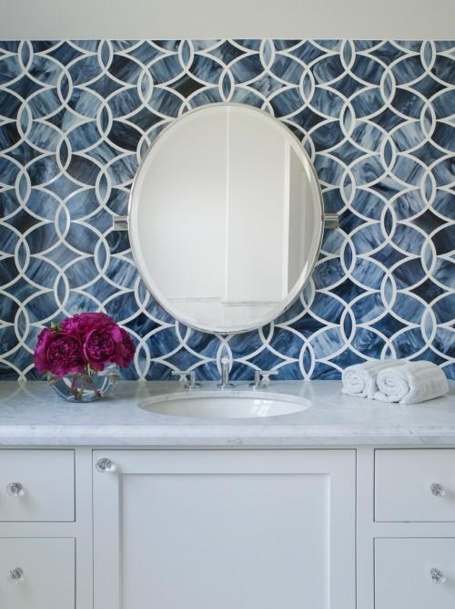 Beautiful Ann Sacks Glass Tile Backsplash White Blue Bathroom With Beau For Inspiration