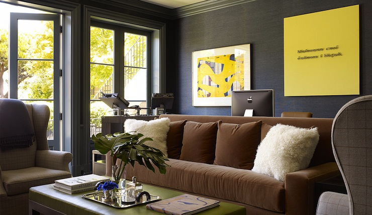 brown u0026 black office design with grasscloth wallpaper moldings painted glossy charcoal gray desk placed behind sofa milk chocolate modern grey walls furniture r