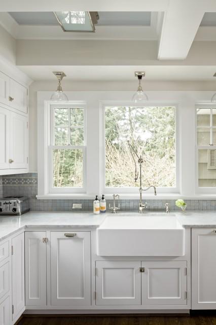 Unique Ann Sacks Glass Tile Backsplash Creamy White Kitchen Cabinets With Carrara Marble On Design