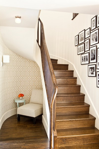 Under The Stairs Reading Nook - Transitional - entrance/foyer - Mona Ross Berman Interiors