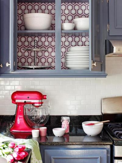 Wallpaper on back of Cabinets - Eclectic - kitchen - DIY ...