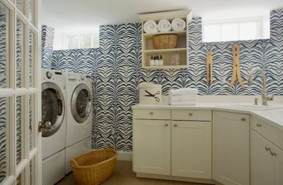 Wallpaper for Laundry Rooms - Contemporary - laundry room - Liz Caan Interiors