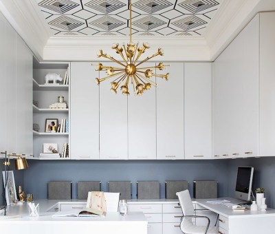 Tray Ceiling Wallpaper - Contemporary - den/library/office - Terris Lightfoot