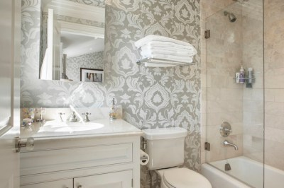 Gray Damask Wallpaper - Transitional - bathroom - Corcoran