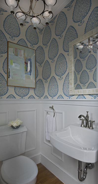 Powder Room with Wainscoting - Transitional - Bathroom - Cloth and Kind