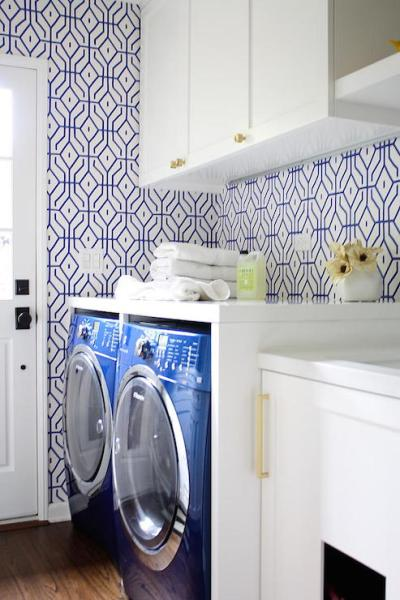 Teal Wallpaper - Contemporary - laundry room - K Mathiesen Brown Design