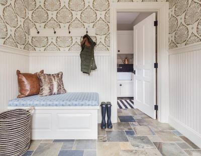 Mudroom with Wallpaper and Beaboard Wainscoting - Cottage - Laundry Room