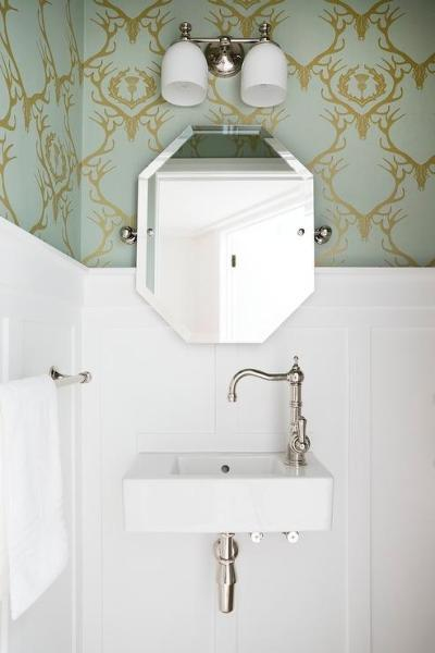Powder Room with Barneby Gates Deer Damask Wallpaper and Board and Batten - Transitional - Bathroom
