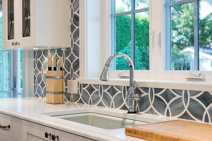 Perfect Ann Sacks Glass Tile Backsplash White Shaker Cabinets Painted Benjamin Moore Heron Throughout Design