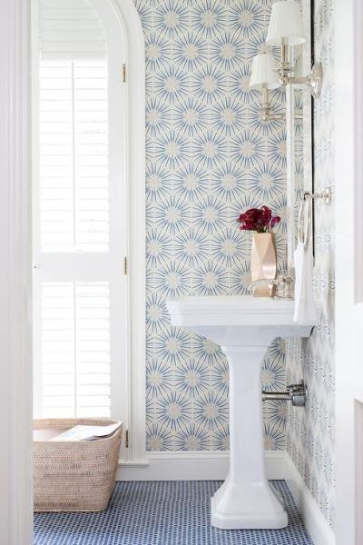White and Blue Powder Room with Blue Penny Tile Floor - Transitional - Bathroom