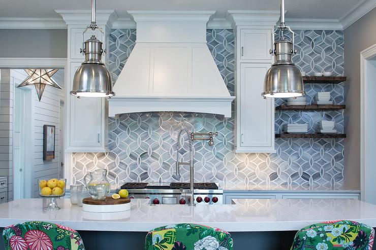 Wonderful Ann Sacks Glass Tile Backsplash White And Gray Kitchen With Mosaic On Inspiration